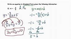 writing linear equations in proper standard form youtube