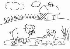 pig mud bath farm coloring page coloring sky