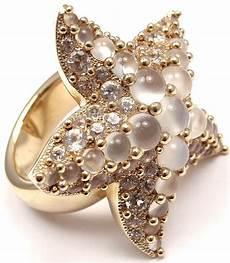 collezione pomellato pomellato sirene moonstone starfish yellow gold ring