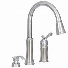 kitchen faucet pull sprayer delta lakeview single handle pull sprayer kitchen faucet with soap dispenser in stainless
