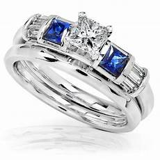 the bridal ring sets 1 carat blue sapphire diamond wedding rings in 14k white gold size 8 5