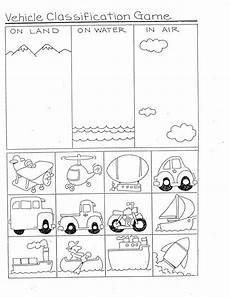 sorting and classification worksheets 7771 vehicles classification transportation preschool kindergarten transportation