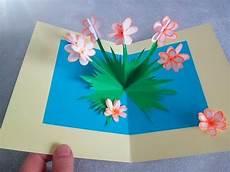 blumenkarte basteln blumen pop up karte selber machen