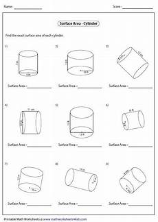 surface area of cylinders area worksheets volume worksheets