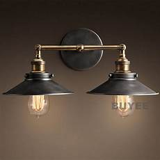 vintage industrial cafe metal black double rustic sconce wall light wall l ebay