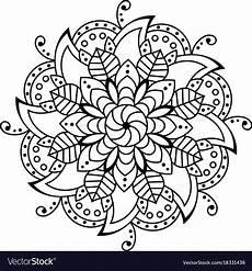 flower mandala decorative elements coloring book vector image