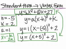 standard form to vertex form alg 2 math showme