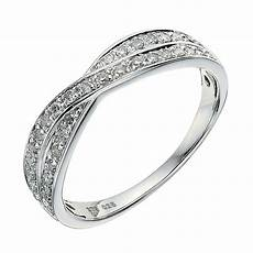 9ct white gold crossover 0 25ct diamond wedding ring
