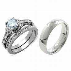 3 pcs hers luxury cz stainless steel wedding ring his matching band ebay