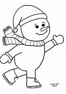 skating snowman coloring page