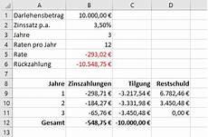 finanzierung berechnen formel mit excel zins und tilgungszahlungen eins ratenkredits