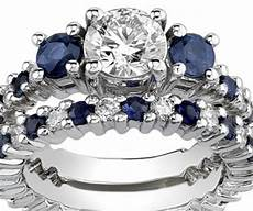 white gold synthetic diamond sapphire engagement
