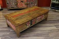 Couchtisch Holz 150x80x45 Schubladen Antik Mehrfarbig