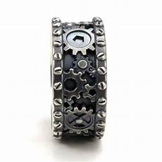 distressed silver gear ring steunk industrial cogs