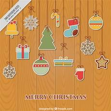 merry christmas background with flat stickers hanging vector free download