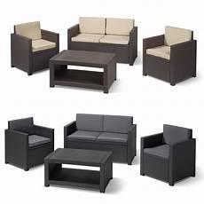 poly rattan garden furniture lounge set table optics seat