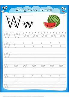 letter w is for watermelon handwriting practice worksheet free printable puzzle games