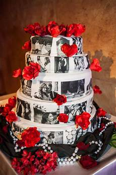 epic wedding in los angeles california weddings personalized cake red flowers