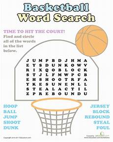 free basketball worksheets for elementary students basketball word search worksheet education com