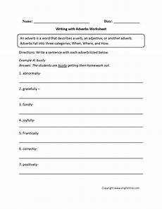 regular adverbs worksheets writing with adverbs worksheet