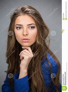 Brown Haired portrait of a beautiful brown haired stock photo