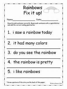 punctuation handwriting worksheets 20786 march fix it up sentences grade writing matter worksheets kindergarten writing