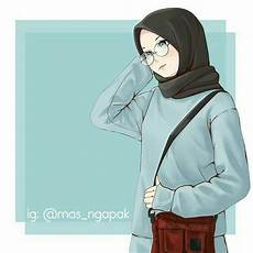 Kartun Muslimah Keren Berkacamata Di 2020 Kartun Gambar