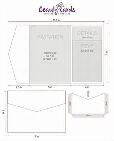diy classic pocket wedding invitation template 5x7 tri