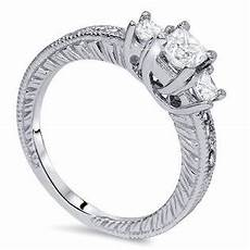 pompeii3 1ct vintage three stone princess cut diamond engagement ring 14k white gold