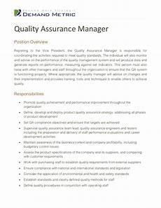 quality assurance manager description