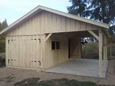 Holzgarage Mit Carport 6m X 6m Satteldach Fertiggarage