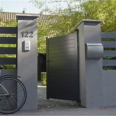 Portail Maison Leroy Merlin Portillon Battant En Aluminium Gris Anthracite Jena