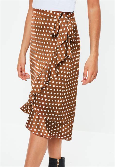 Brown Polka Dot Midi Skirt