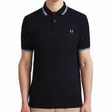 fred perry tipped polo shirt in black and pale blue