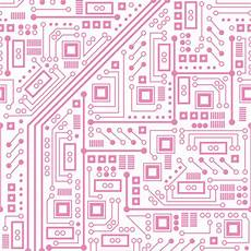 robot circuit board pink and white fabric robyriker spoonflower