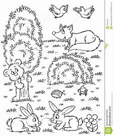 woodland animals coloring pages 17187 fox hares and birds stock illustration illustration of nature 15018152