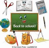 Cheerful Cartoon School Supplies With Blackboard Colorful