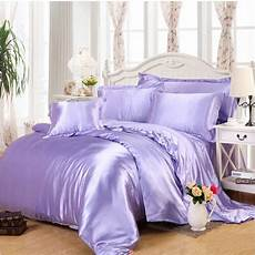 light purple imitated silk satin bedclothes bedding queen king 4pcs solid color doona quilt