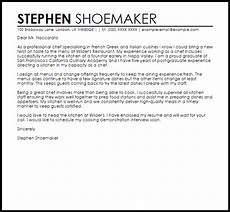 sle cover letter for a chef job cover letters livecareer