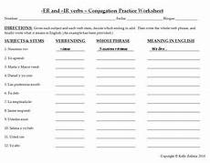 worksheets conjugating verbs 18222 1 er and ir verbs conjugation practice worksheet and sentence writing