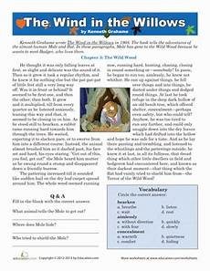 reading the wind in the willows worksheet education com