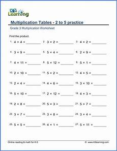 grade 3 math worksheet multiplication tables 2 to 5 k5 learning