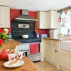 red white and blue country kitchen period decorating ideas ideal home