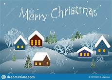 merry christmas winter landscape houses trees blue vector stock vector illustration of