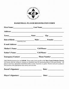 free 9 basketball registration forms in pdf