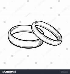 pair traditional golden wedding rings sketch stock vector