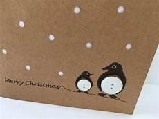 pinguin weihnachtskarte knopf pinguine mit papier