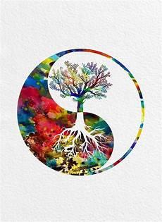 Malvorlagen Yin Yang Xyz Yin Yang Tree Watercolor Print Tree Of Yin Yang