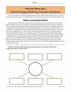 high school main idea worksheet about the book david copperfield