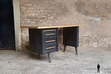 bureau vintage style industriel gris anthracite tiroirs